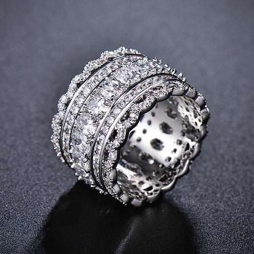 Luxury White Gold Color Hollow out Design Clear Cubic Zirconia Rhinestones Micro Setting Wide Woman Finger Ring Wholesale Gift