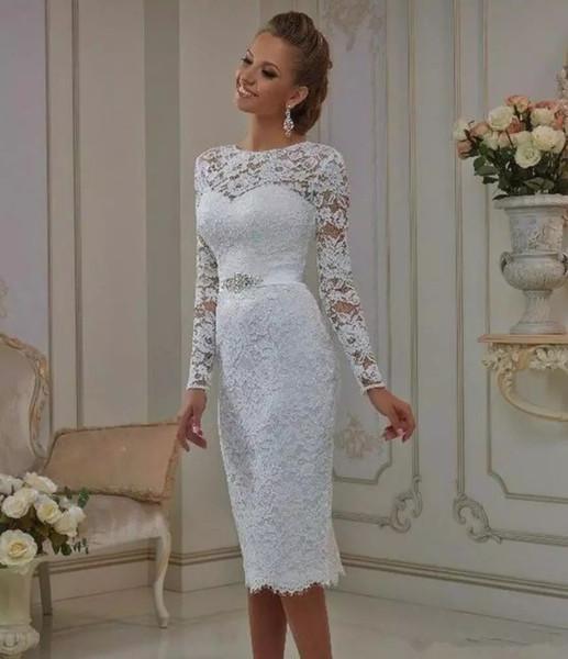 Abiti da sposa corti vintage in pizzo lunghezza tè robes de mariée maniche lunghe guaina gioiello collo da sposa in cristallo abiti da sposa casual informale