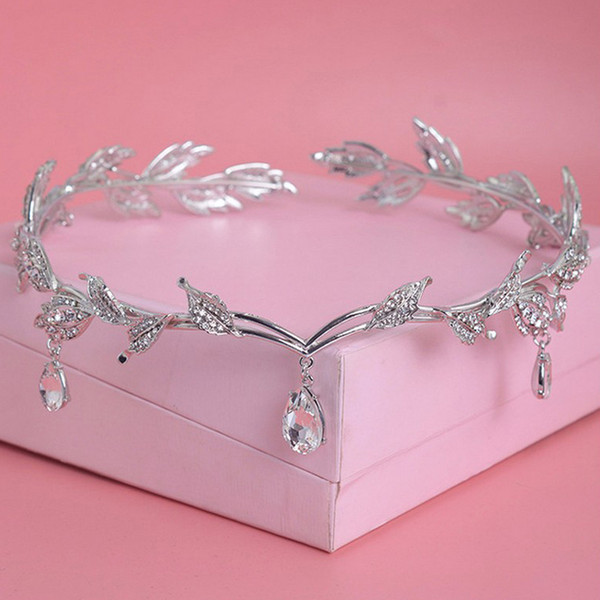 Bridal Hair Accessory Crystal Rhinestone Leaf Round Tiara And Crown Frontlet Bridesmaid Hair Jewelry Forehead Wedding Headpieces C19041101
