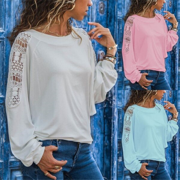 Maikun Brand New Loose Lace Hollow Out Long Sleeve Casual T-shirt for Women 4 Colors S-5XL