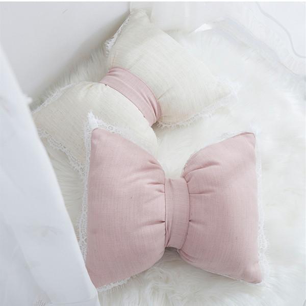40x30 cm bege / rosa lace babado arco em forma de almofada travesseiro sofá lombar travesseiro encosto para trás almofada cama bay window decoração da sua casa