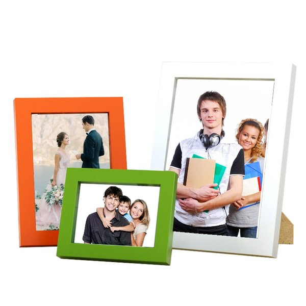 Multiple sizes Picture Frames Made of Solid Wood High Definition Glass for Table Top Display and Wall mounting photo frame 14 colors.
