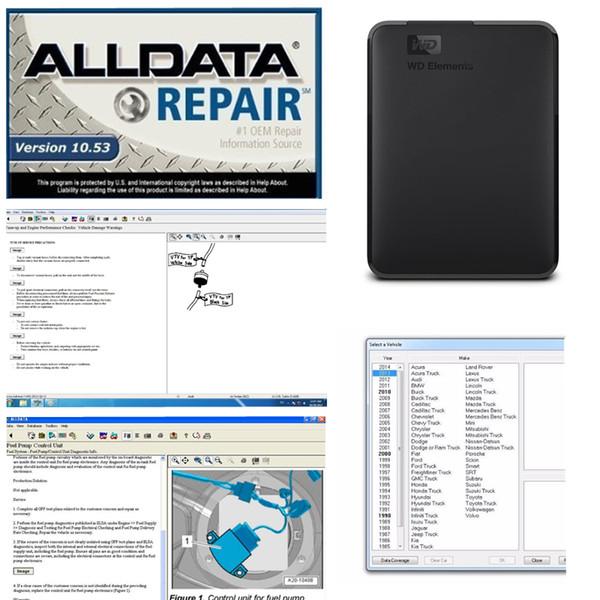 2019 Auto Repair Alldata Software Alle 10.53 in 750GB HDD usb3.0 Hochwertiges Festplattenlaufwerk Alldata Diagnosewerkzeug kostenloser Versand