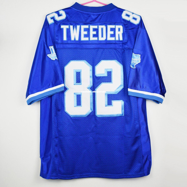 Cheap custom Charlie Tweeder #82 West Canaan Coyotes Football Varsity Sewn Jersey Blues Customized Any name number Stitched Jersey XS-5XL