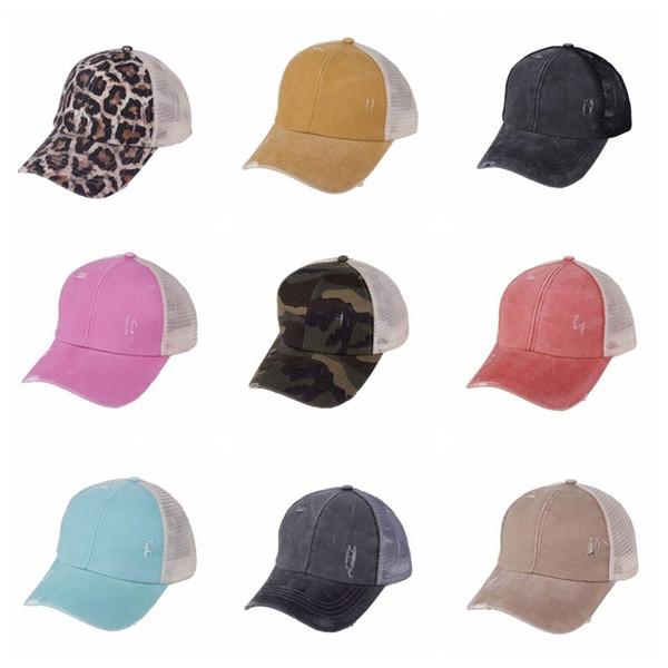 best selling Ponytail Baseball Caps Washed Cotton Messy Buns Hats Summer Trucker Pony Cap Unisex Visor Cap Hat Outdoor Snapbacks Caps B7514
