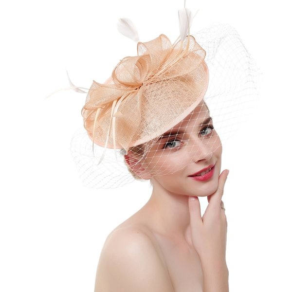 Champagne Linen Wedding Hats and Fascinators for Bridal Wedding Hats with Face Veil Elegant Women Party Hat sombrero boda