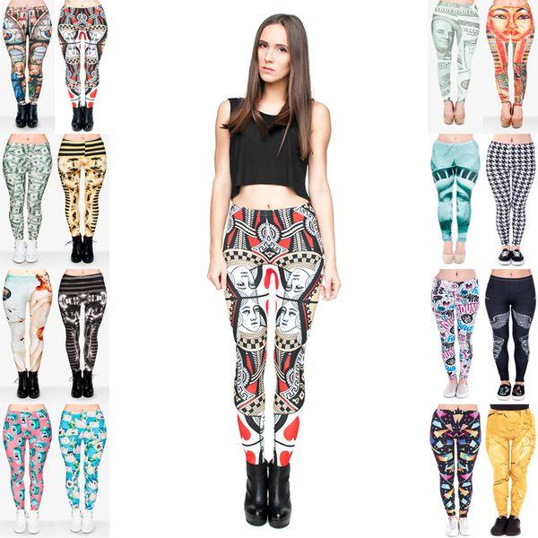 top popular Girl Leggings Mix 16 Styles Dama Kier Poker Queen of Hearts Cathedral Madonna Tutankhamen Venus Creature Finn Pharaoh 3D Print Pants (JL021) 2019