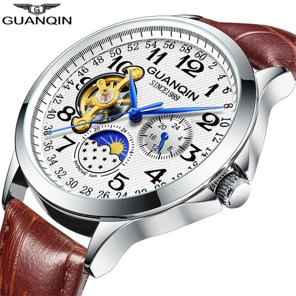 2019 Fashion GUANQIN Mens Watches Top Brand Luxury Skeleton Watch Men Sport Leather Tourbillon Automatic Mechanical