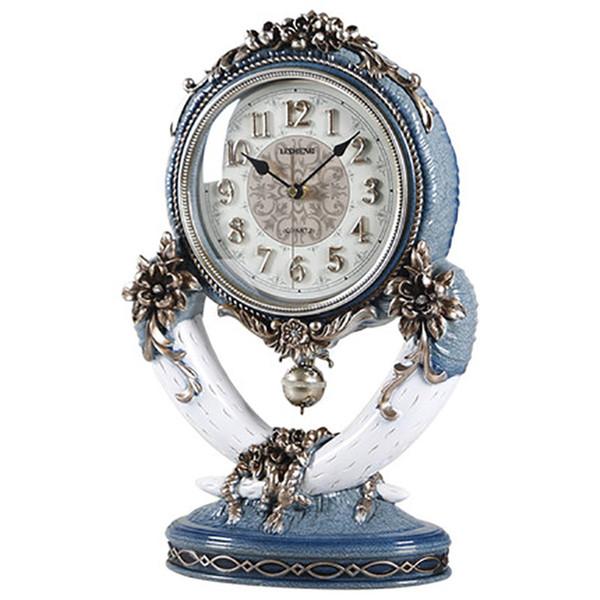 European Vintage Ivory Clock Classic Living Room Decorated Pendulum Clock Classic Lake Blue Bedroom Study Desktop Decoration