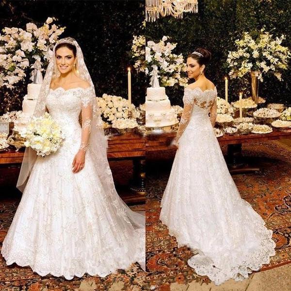 Модные 2019 Sheer С Длинным Рукавом Свадебные Платья Индийский Зубчатый С Плеча Декольте Линия Молния Назад Кружева Арабские Свадебные Платья