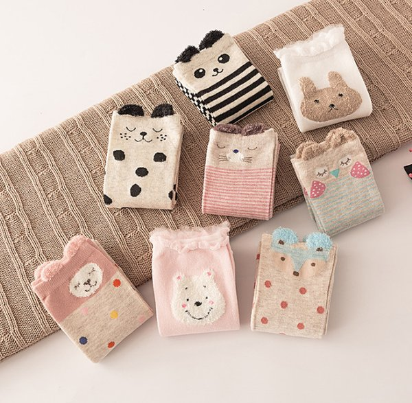 Kids stripe socks boys cartoon fox rabbit pandy pattern knitted socks children colorful polka dots knee high socks baby legs F2781