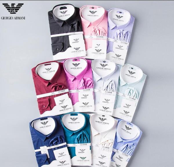 hkx688463 / Moda Masculina Camisas Mangas Compridas Cor Sólida Camisa Ocasional 2019 Inverno Nova blusa de gola mandarim Magro OverShirt do Adolescente 5650