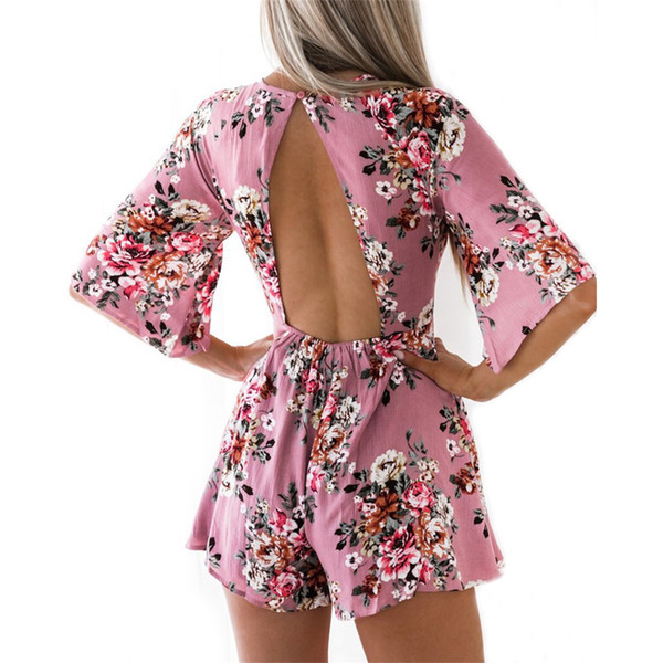 Women Rompers 2019 Summer Boho Style Floral Print Beach Playsuits Short Chiffon Jumpsuit Overalls Sexy Backless Jumpsuit Female