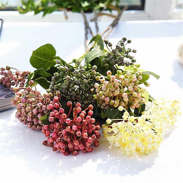 Hogar y jardín Decoración Flor Artificielle 2Heads / rama planta falsa Hydrangea de frutas bayas con las hojas de plástico flores artificiales