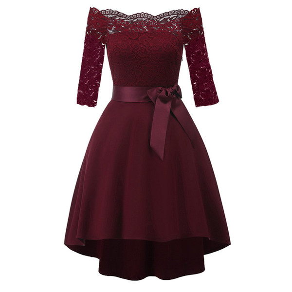 Classic women lace cocktail party dress ladies autumn winter clothing dresses for women's fashion swallowtail solid dress clothe