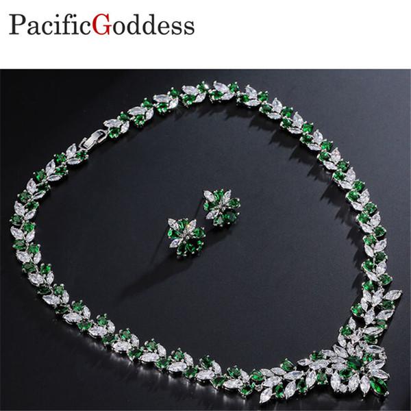 Toptan Lüks Düğün Gelin Kübik küpe Kolye Jewel Set parlak Mücevherat bling bling