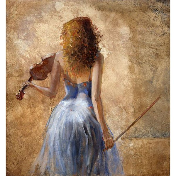Modern art paintings dancing girl Girl with a violin hand-painted home decor