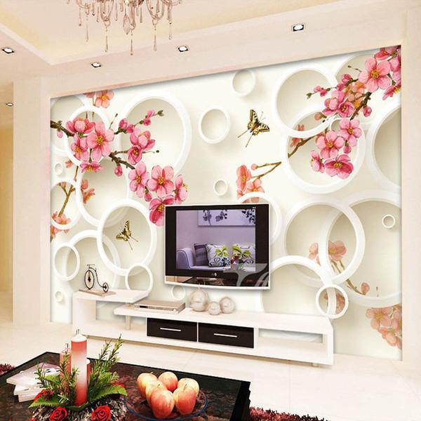 Personalizzato Murale Carta da parati 3D Cerchi stereoscopici Floral divano TV Sfondo decorazioni da parete Soggiorno camera da letto moderna carta da parati