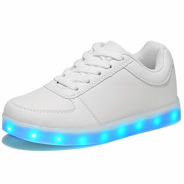 Led Luminous Shoes For Boys Girls Fashion Light Up Casual Kids 7 Colors Usb Charge New Simulation Sole Glowing Children Sneakers Y19061906