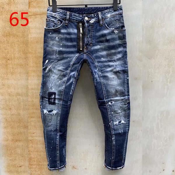 top popular 20ss mens denim jeans black ripped pants fashion skinny broken style bike motorcycle rock revival jean 2021