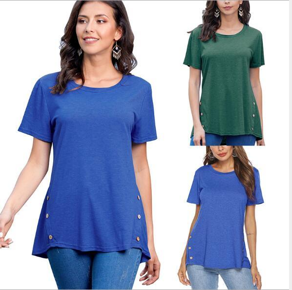 Summer 2019 New Euro-American Women's T-shirt Amazon hot-selling blouses with round collar buttons in plain colour and loose women's jackets