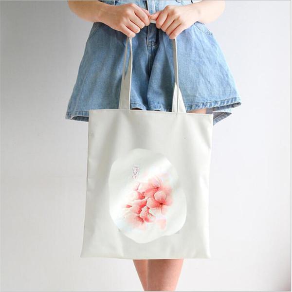 Women Print Flower Handbags Canvas Tote Student Books Storage Package Simple Shoulder Bags Environmental Shopping Bags