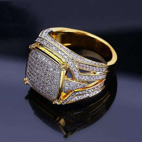 18 Karat Gelbgold Gefüllt Natürliche Edelstein Weißer Saphir Diamant CZ Ring Hochzeit Vorschlag Braut Männer Ring Marke Schmuck Größe 5-12