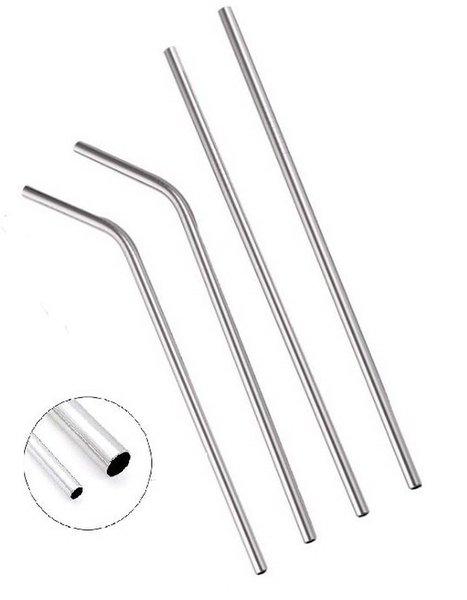 Stainless Steel 304 Drinking Straw natural colour 8mm Diameter 215mm length Straight elbow Reusable Party Bar Straws