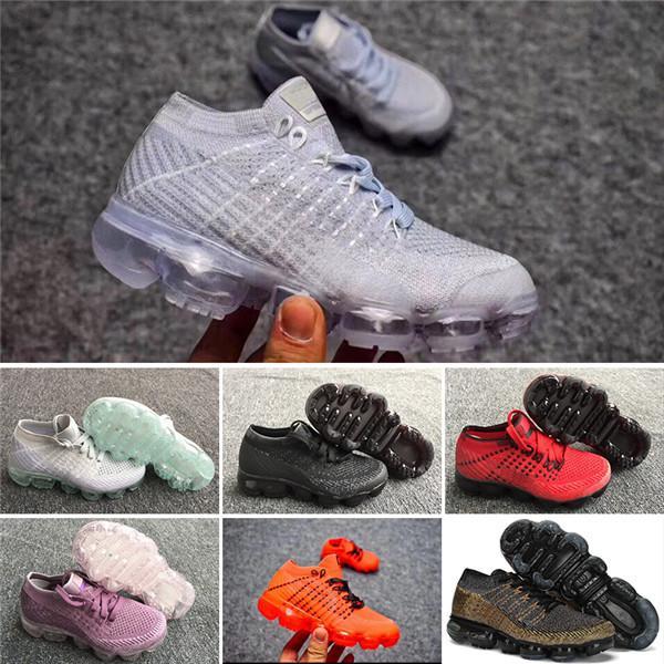 Nike VaporMax 2018 shoes Air Max de haute qualité pour enfants triple noir infantile Sneakers Rainbow enfants chaussures de sport filles et garçons formateurs de tennis