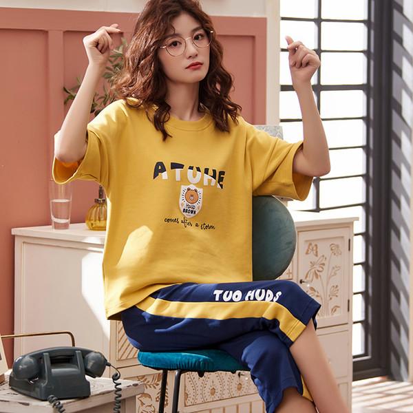 Factory price Short Sleeve Cotton Women Home Clothing Girl Pajamas Casual Pajamas Sets For Women Hot Sleepwear