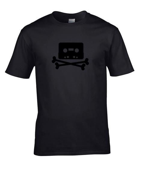 Pirate Bay Logo-Casette Crossbones-T-Shirt dos homens Engraçado frete grátis Unisex top Casual