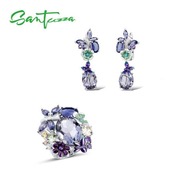Santuzza Silver Jewelry Set Handmade Enamel Butterfly Purple Stones Ring Earrings 925 Sterling Silver Women Fashion Jewelry Set Y19051302