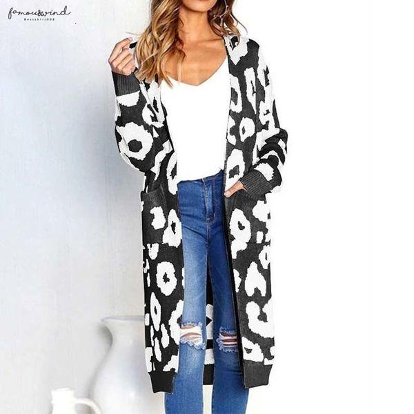 Leopard печать Кардиганы Одежда Женщина Открытого Стич Осень Кармана Тонкое Длинные Повседневное трикотажные свитера пальто Плюс Размер