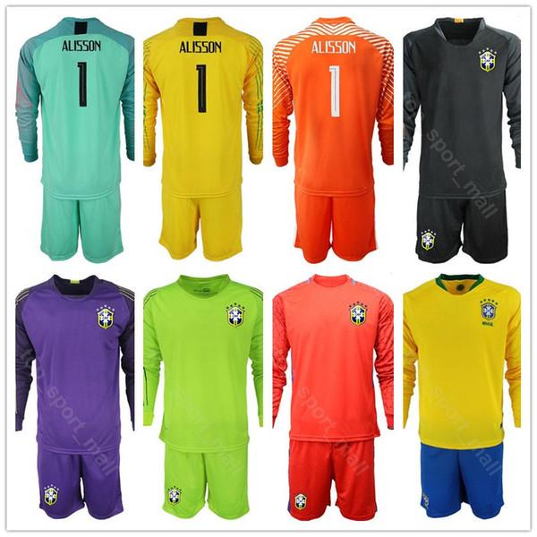 Kits caliente de la camisa de manga larga Brasil Portero Portero de fútbol EDERSON conjunto Jersey Copa América ALISSON CAFU CASSIO.- Fútbol