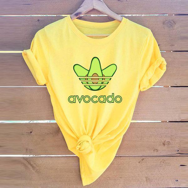 Komik Avokado Kadın T Shirt 2019 Yaz Kadın Kısa Kollu Harajuku Gömlek Femme Ofis Anne Üstleri 5XL Artı Boyutu Grafik Tees
