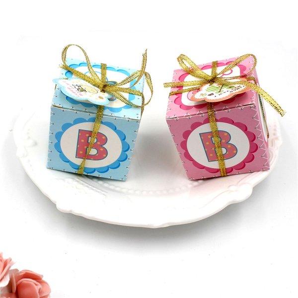 100 unids / lote nuevas cajas de regalo de caramelo azul rosa para niña niño bebé ducha favor cumpleaños decoración niños cumpleaños favor y caja de dulces