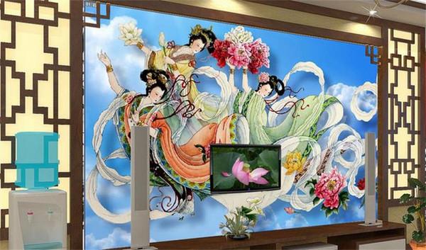 Custom 3D Photo Wallpaper Mural Sala de estar Cama Sofá TV Telón de fondo mural Flying fairy scatter flor Imagen Wallpaper Wallpaper decoración del hogar