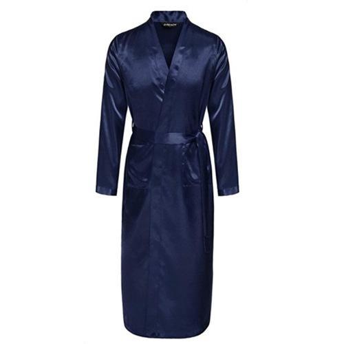 NAVY BLUE Mens Robe Hot Sale Faux Silk Kimono Bath Gown Bathrobe Nightgown Sleepwear Hombre Pijama Size S M L XL XXL S01055