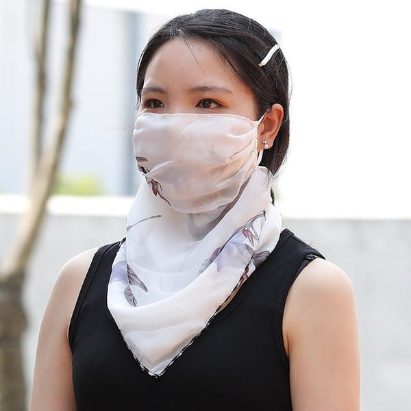 Suncreen Scarf Spring Summer Bib Large Mask Female Outdoor Travel Neck Breathable Hair Band Full Face Best Anti-UV Chiffon Thin Veil Bandana