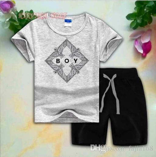 BOY Style Eagle Childrens Sets 1-7T Kids 8 colori T-shirt pantaloni corti 2 Pz / set Baby Boys Girls 95% cotone stile di stampa Summer Set