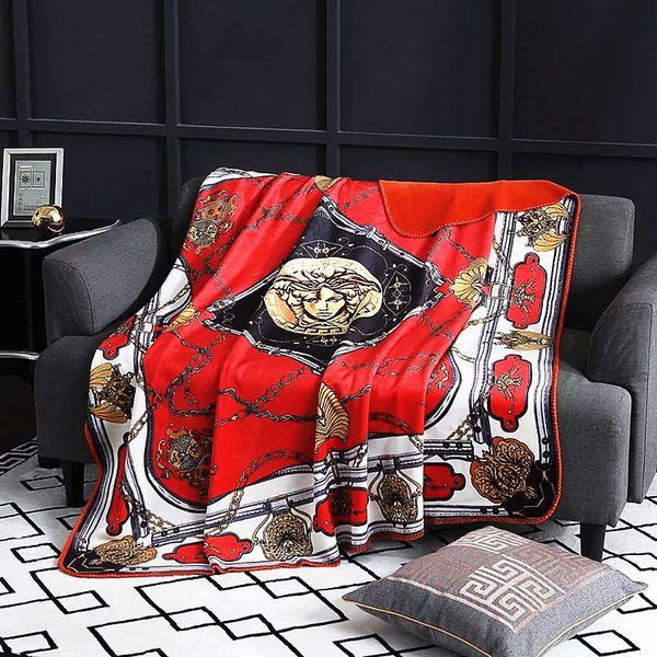 Royal Fancy Brand Medusa Designer Coperta di velluto Creativo H Modello Set di biancheria da letto Divano Throw Coperte in pile Luxury Home Wedding Interiors