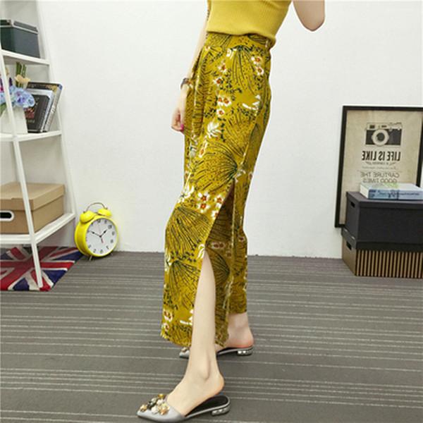 Летняя мода Богемский широкие брюки высокой талией свободные повседневные пляжные брюки элегантный этнический ветер стороны открытой