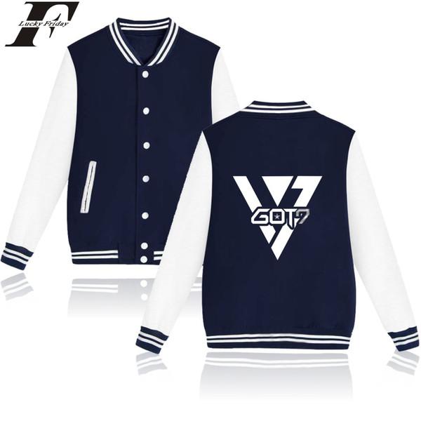 Got7 kpop sport mode hommes femmes Baseball Veste Poche Bouton Casual manches longues harajuku Hoodies Vestes Sweat-shirt manteaux