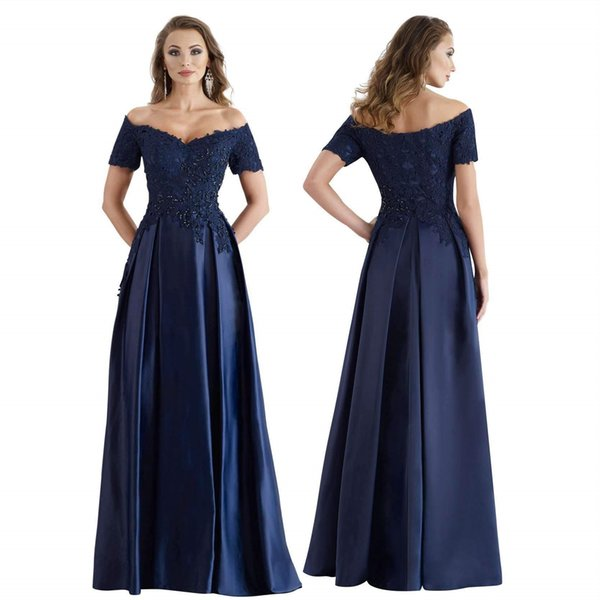 Dark Navy Prom Dresses Long 2019 A Line Off the Shoulder Short Sleeve Formal Evening Gowns Beaded Lace Appliques Satin Ball Party Dress