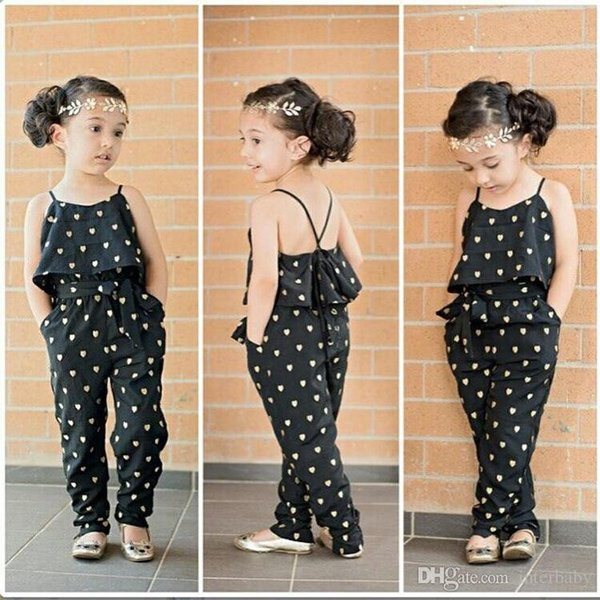 Çocuklar Ins Tulum Kız Sling Elbise Set Kalp şeklinde Tulum Moda Askı Pantolon Askıları Tulum Tulum Tulum YFA956