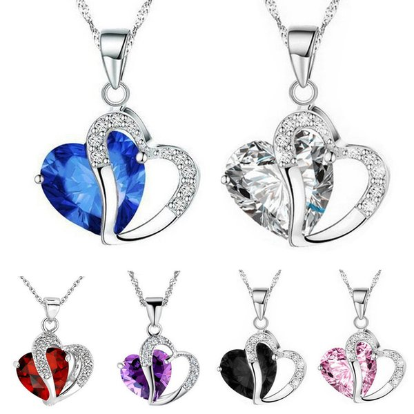 Women Fashion Heart Crystal Necklace Rhinestone Silver Chain Pendant Necklace 9 Colors Gemstone Amethyst Jewelry Gifts