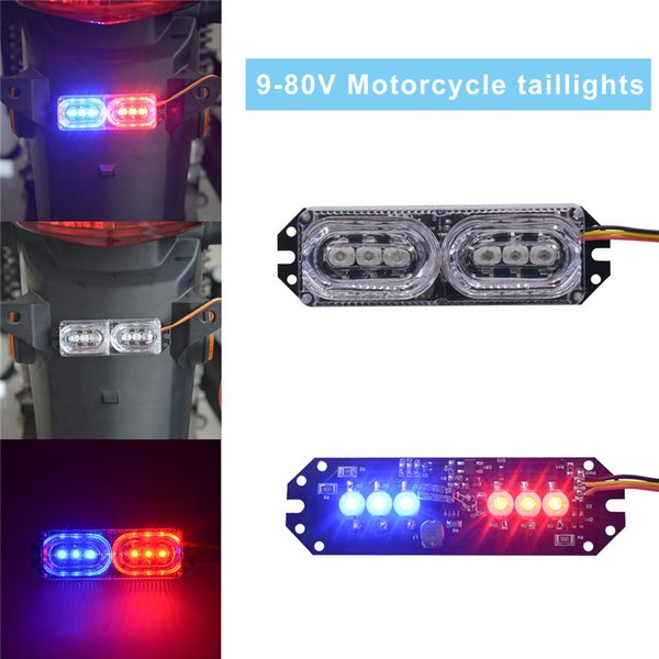 Hot Multifuction Driving Motorcycle Tail Lamp Warning Light Flash Strobe Brake Warn Blue And Red Car Moto Devices