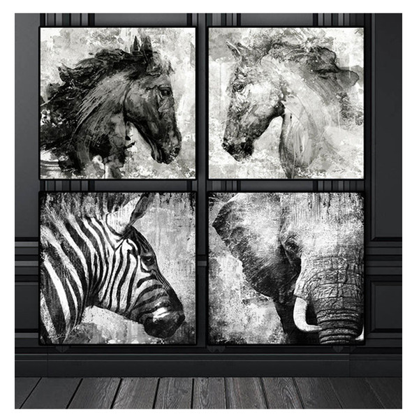 Black and White Elephant Horse Zebra,Full square/round Diamond Painting 5D Diy Diamond picture of Rhinestones painting 4pcs set
