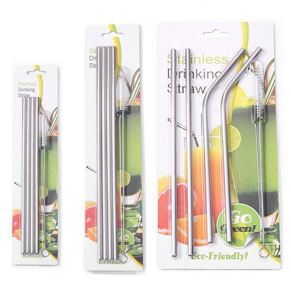 best selling 304 Stainless Steel Drinking Straws Sets Reusable Drinking Straws 4pcs Straws+1pc Cleaning Brush with Retail Package