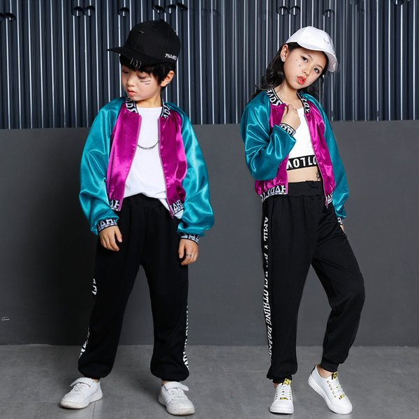 Boys Girls Hip Hop Performance Clothes For Kids Korean Jacket Crop Top Pant Children Girls Stage Costume Dance Wear